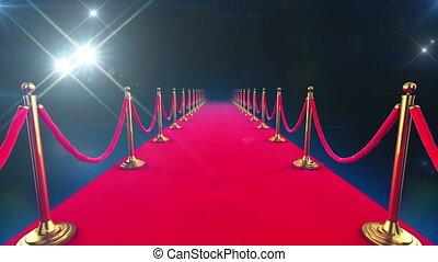 event., geschlungen, animation, roter teppich