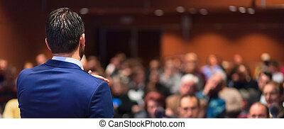 event., handlowy, udzielanie, mówiący, publiczność, rozmowa