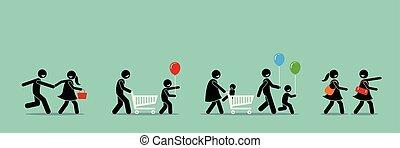 event., indkøb, karneval, afsætningen, shoppers, gå, glade