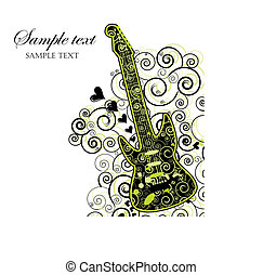 Event Invitation with Guitar - Illustration of a guitar wirh...