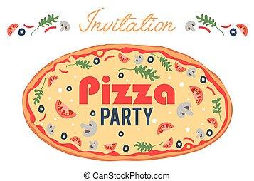 event., invite., 所有するため, card., ポスター, 社会, italian., 招待, 持って来なさい, フライヤ, 夕食。, topping., パーティー, あなたの, ピザ