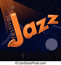event., misical, wektor, afisz, miasto, tytuł, święto, tekst, jazz, ilustracja, próbka, saksofon, lotnik, trąbka, tło, noc, keyboard., chorągiew, template., partia, piano