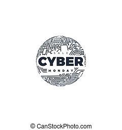 event., monday., vendita, cyber, promozionale, linea