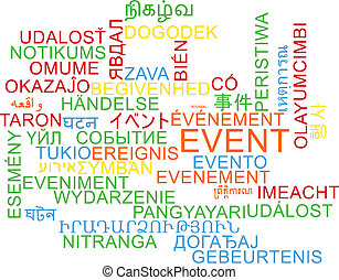 Background concept wordcloud multilanguage international many language illustration of event