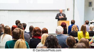 event., negócio, dar, orador, público, conversa
