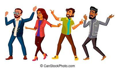 event., płaski, komplet, taniec, ludzie, odizolowany, ilustracja, czynny, ważny, vector., kobieta, rysunek, man.