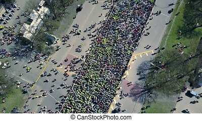 event., pasaż, tłum, ludzie, ich, truteń, antena, początkowy, maraton, prospekt
