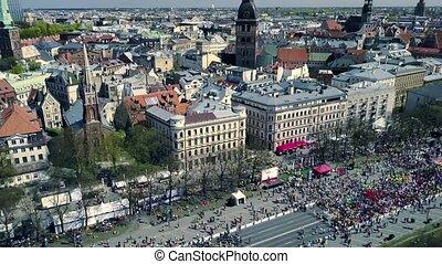event., paysage., aérien, foule, gens, courant, bourdon, ville, marathon, vue
