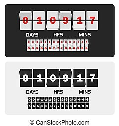 Event presentation sale timer. Number counter template banner, all digits with flips included. Countdown clock digits board. Vector illustration.