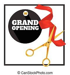 event., ribbon., cięty, otwarcie, złoty, wielki, nożyce, czerwony