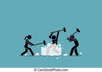 event., rozerwanie, lód, gra, icebreaker, działalność, albo
