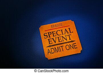 event ticket stub in spotlight, on blue