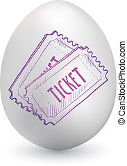 Event tickets on easter egg - Doodle style concert, movie, ...