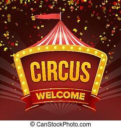 event., wohnung, zirkus, abbildung, zeichen, retro, vector., einladung