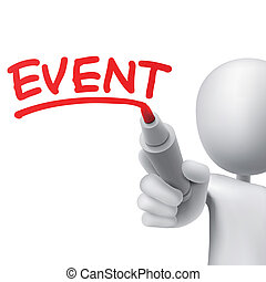 event written by a man over white background