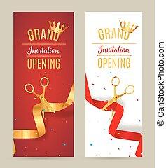 event., złoty, cięty, banner., otwarcie, zaproszenie, ceremonia, karta, wielki, celebrowanie, wstążka, czerwony