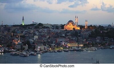 Eventide in Istanbul - View from Galata Tower to Istanbul....