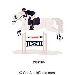 Eventing, equestrian competition flat vector illustration. Horse rider, horseman cartoon character. Equestrian show, performance. Horse jumping over barrier isolated on white background