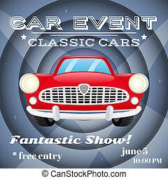 evento, car, retro, cartaz