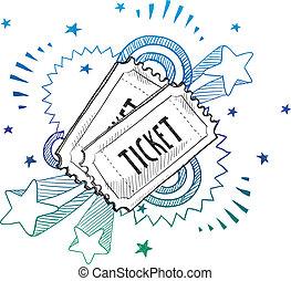 evento, excitação, bilhete, esboço