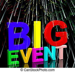 evento grande, palavras, com, fogos artifício, mostra,...
