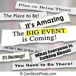 evento grande, pubblicità, giornale, annunci, messaggio, titoli