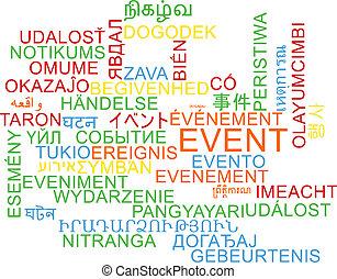 evento, multilanguage, wordcloud, fondo, concetto