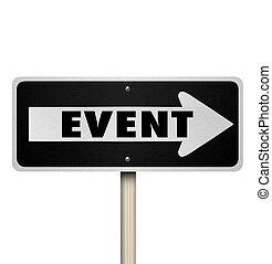 evento, palavra, um modo, estrada, sinal rua