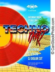 evento, stile, ballo, manifesto, albero, onda, clubbing, ...