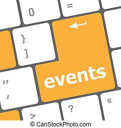 eventos, botão, ligado, a, teclado, -, feriado, conceito