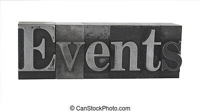eventos, em, antigas, metal, tipo