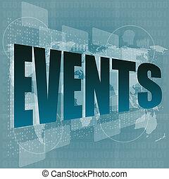 eventos, palavra, ligado, toque, social, rede