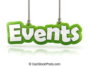 eventos, verde, palavra, texto, isolado, branco, fundo