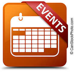 Events (calendar icon) brown square button red ribbon in corner
