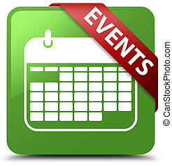 Events (calendar icon) soft green square button red ribbon in corner