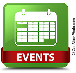 Events (calendar icon) soft green square button red ribbon in middle