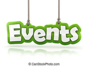 Events green word text isolated on white background with clipping path