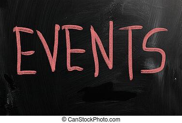 """Events"" handwritten with white chalk on a blackboard"