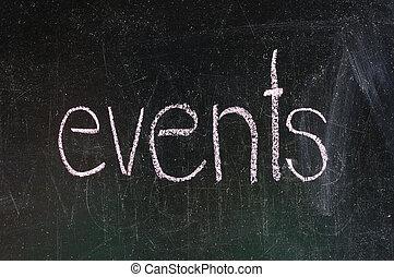 Events handwritten with white chalk on a blackboard