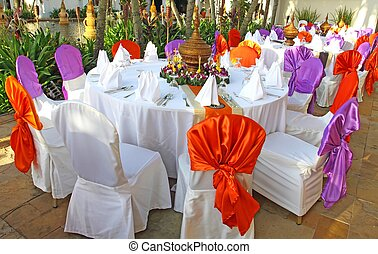 Events preparation for dinner, table appointment