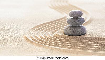 evenwicht, -, spa, zand, zuiverheid, harmonie, therapie, zen, stenen, lijnen, concept