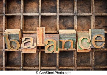 evenwicht, woord, in, hout, type