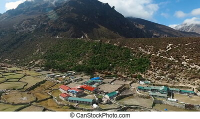 Everest basecamp trek view - Thame, Nepal. Drone Footage. -...