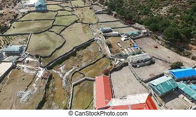Everest basecamp trek view - Thame, Nepal. Drone Footage. -...