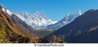 Everest, Lhotse and Ama Dablam summits.