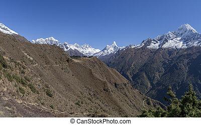 Everest Lhotse Thamserku and Ama Dablam in Nepal