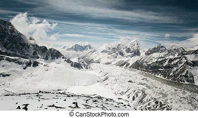 Timelapse view in Everest region in Himalaya, Nepal
