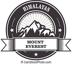 Everest - snowbound Himalayas mountain label