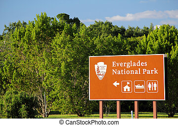 Everglades National Park, Gulf Coast Visitors Center Entrance Sign