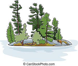 Evergreen Island - Cartoon evergreen trees on a rocky island...